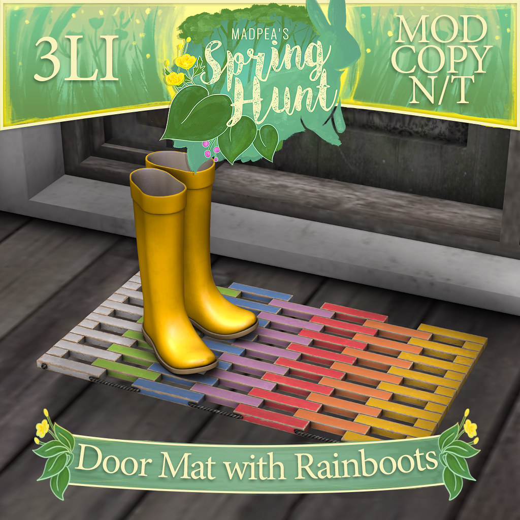 MadPea Spring Hunt – Door Mat with Rainboots!