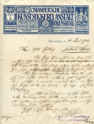 Geschäftsbrief mit sehr schönem Briefkopf der Osiander'schen Kunststickereianstalt Ravensburg