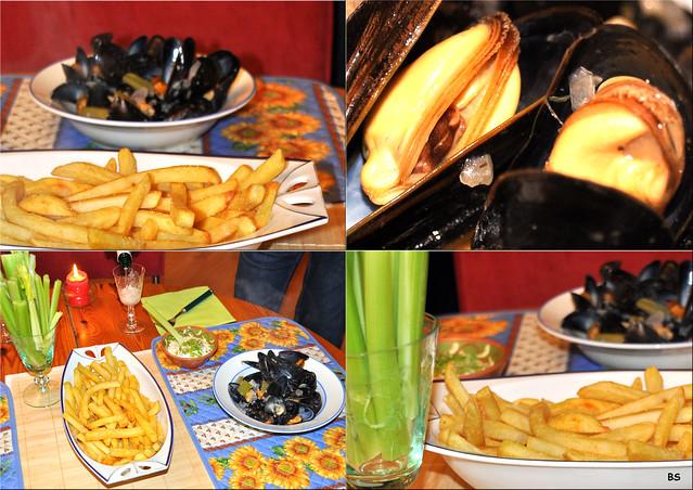 Miesmuscheln als Moules marinières (auf Seemannsart) mit Pommes frites ... Fotos: Brigitte Stolle 2019