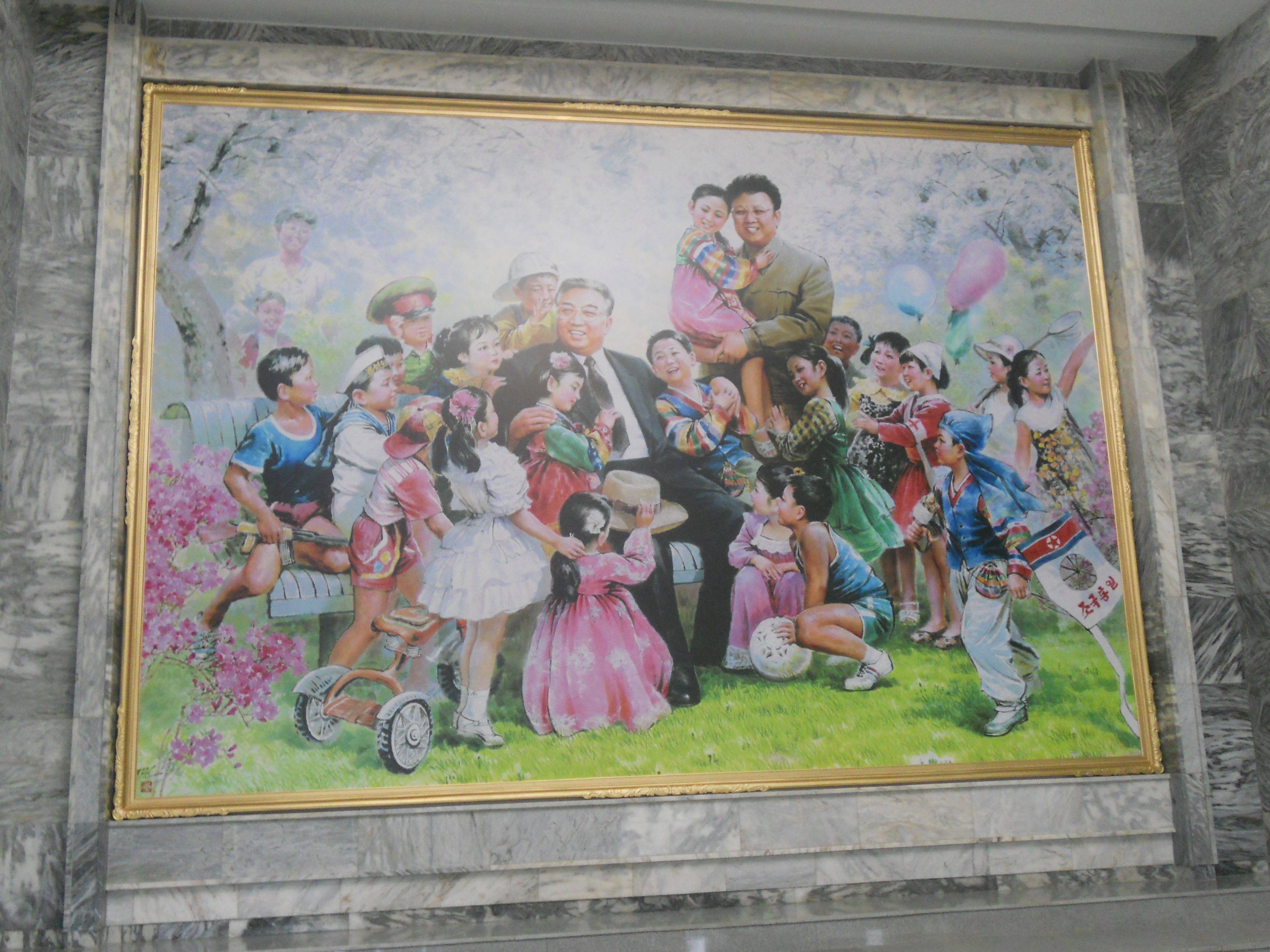 A painting of Kim Jong-il and his father Kim Il-sung, photographed in Pyongyang, North Korea, on August 13, 2010.