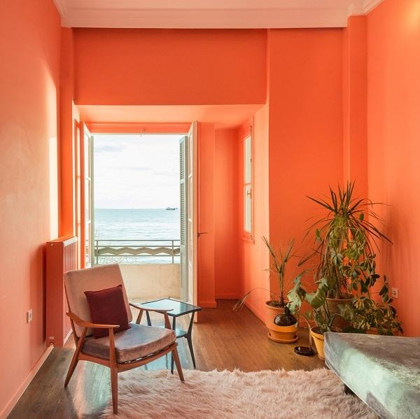Nội thất sử dụng màu cam san hô