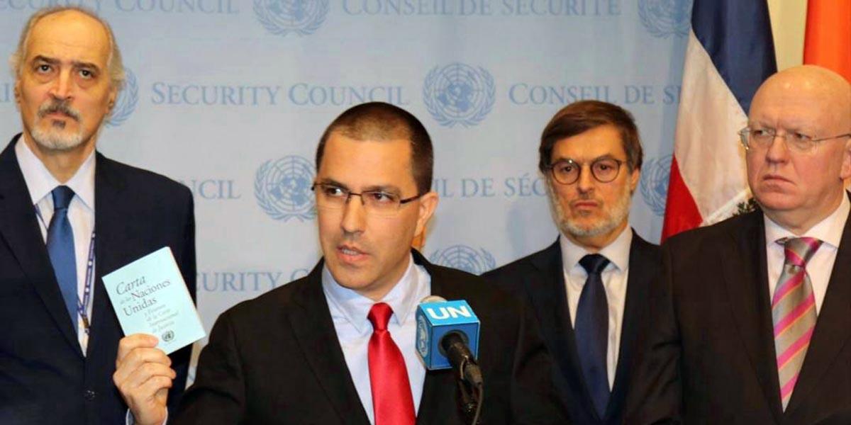 Canciller Jorge Arreaza ofrece rueda de prensa desde sede de la ONU