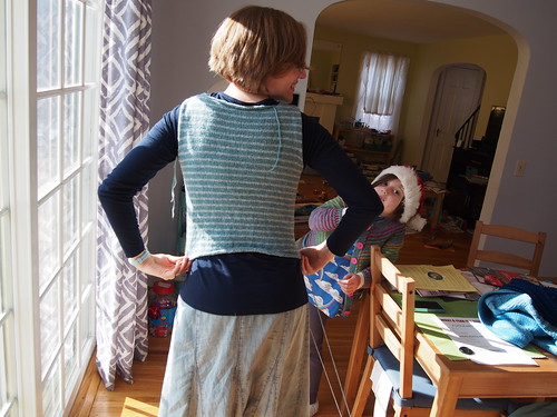 sweater progress, back view