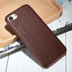 Coque Ultra Slim Vintage Style Bois Pour iPhone 8 Plus 02 Rouge