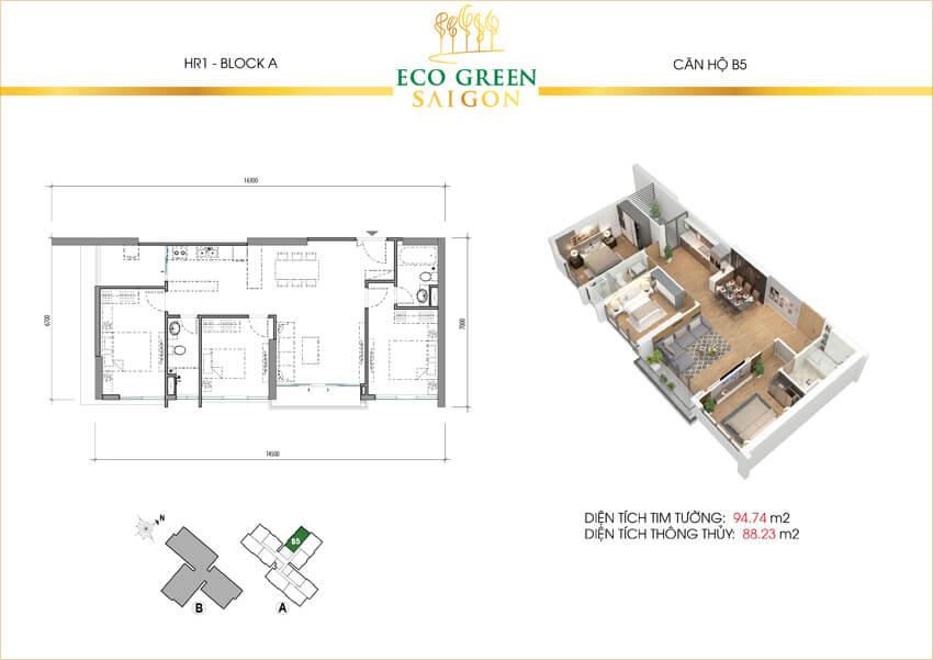 Mặt bằng căn hộ 3 phòng ngủ loại B5 dự án Eco-Green Sài Gòn quận 7.