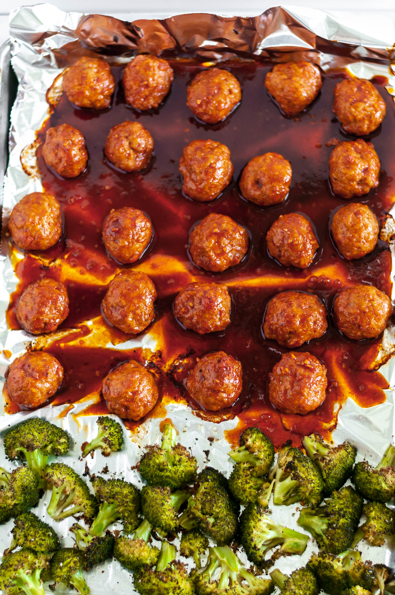 Korean Meatball Meal Prep makes a delicious lunch throughout the week. Baked on a sheet pan along with broccoli. Spicy and so flavorful.