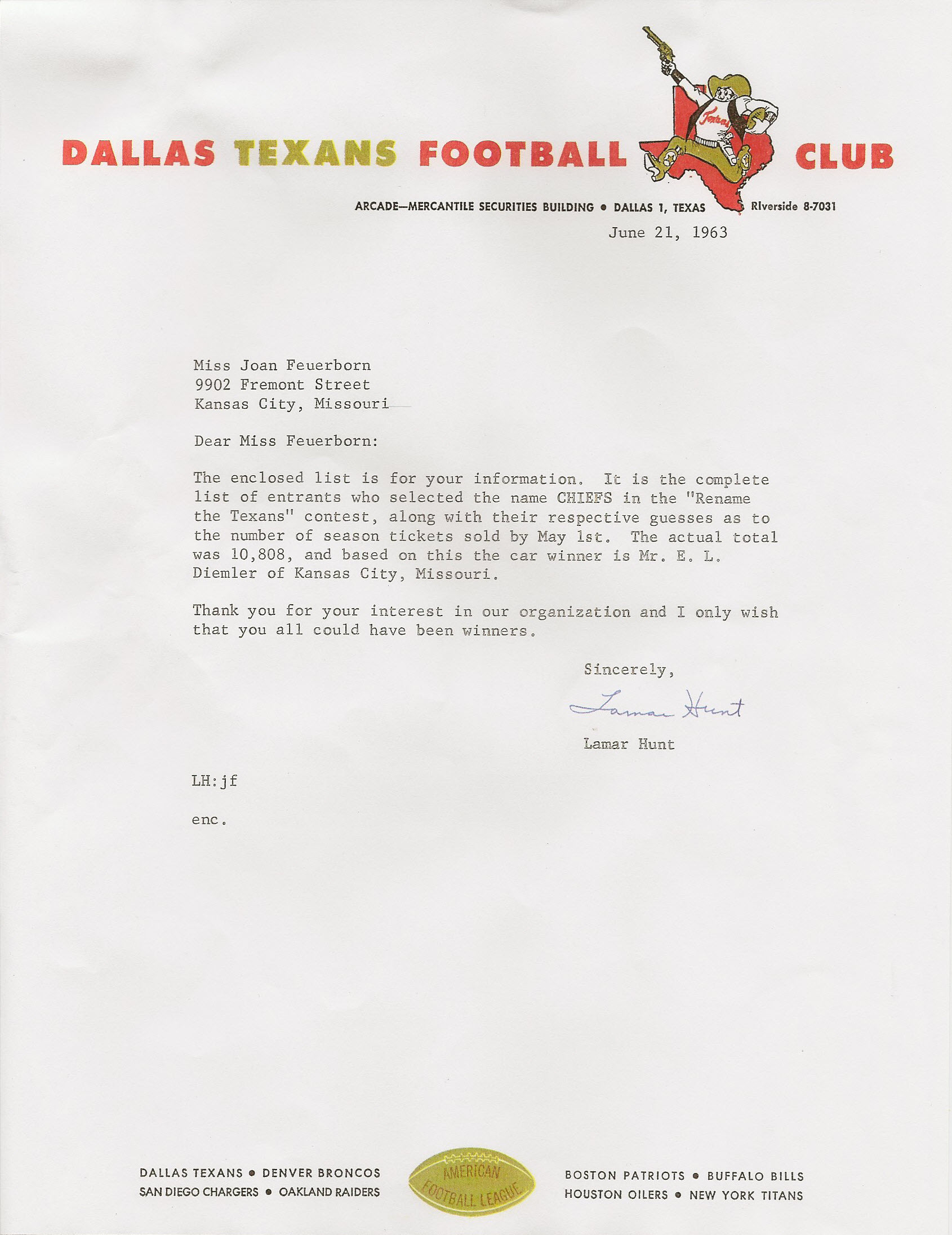 Football Club Naming Contest letter from Lamar Hunt, June 21, 1963