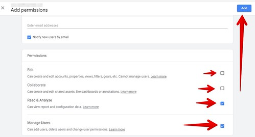 Google Analytics add permission