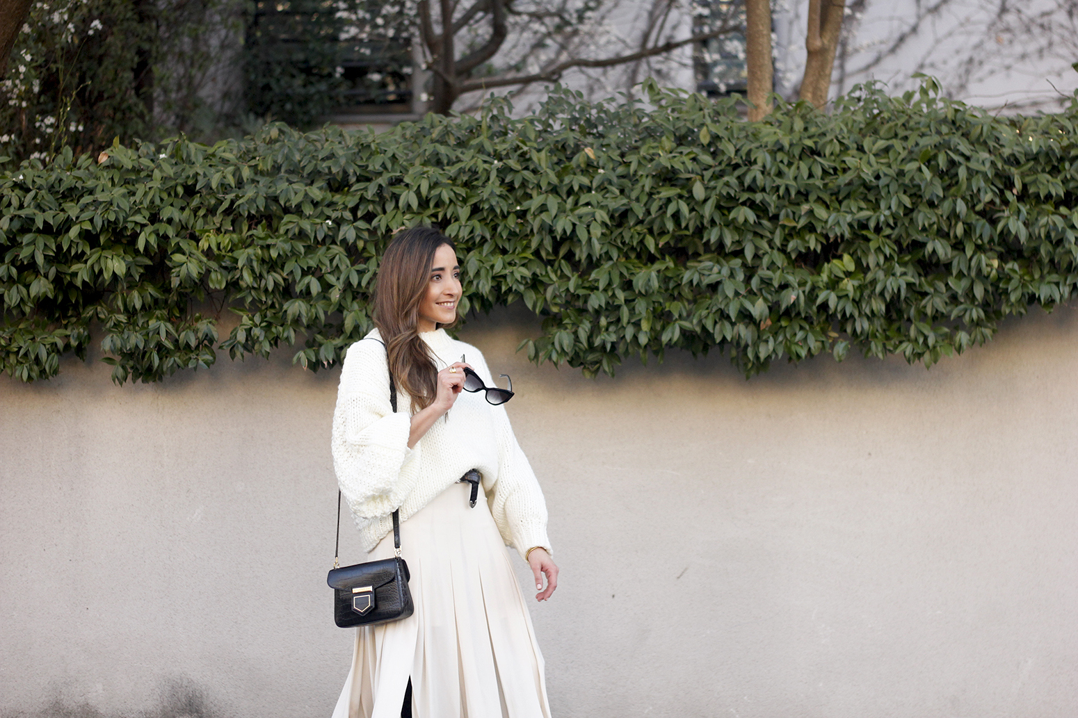 pink pale midi skirt white sweater black boots givenchy bag street style outfit 201913