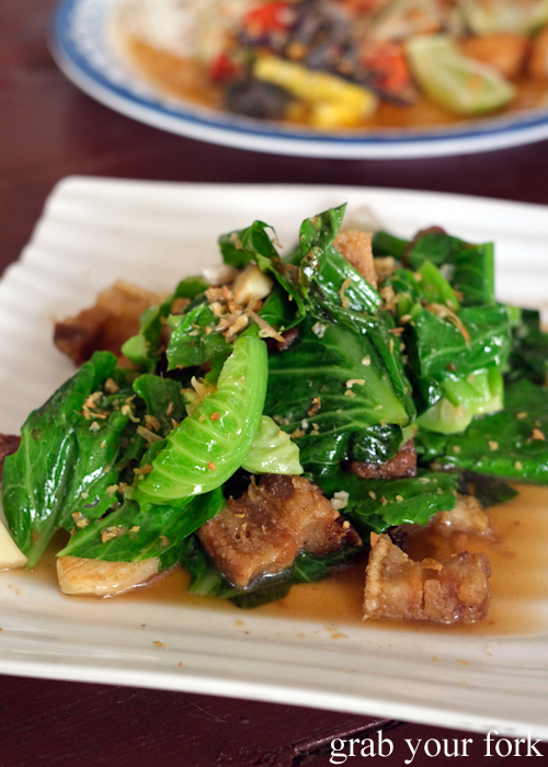 Crispy pork belly with young cabbage at Krua Navy Base Restaurant in Khao Lak, Thailand