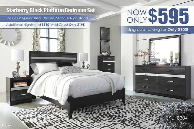 Starberry Black Platform Bedroom Set_B304-31-36-46-57-54-91-Q256