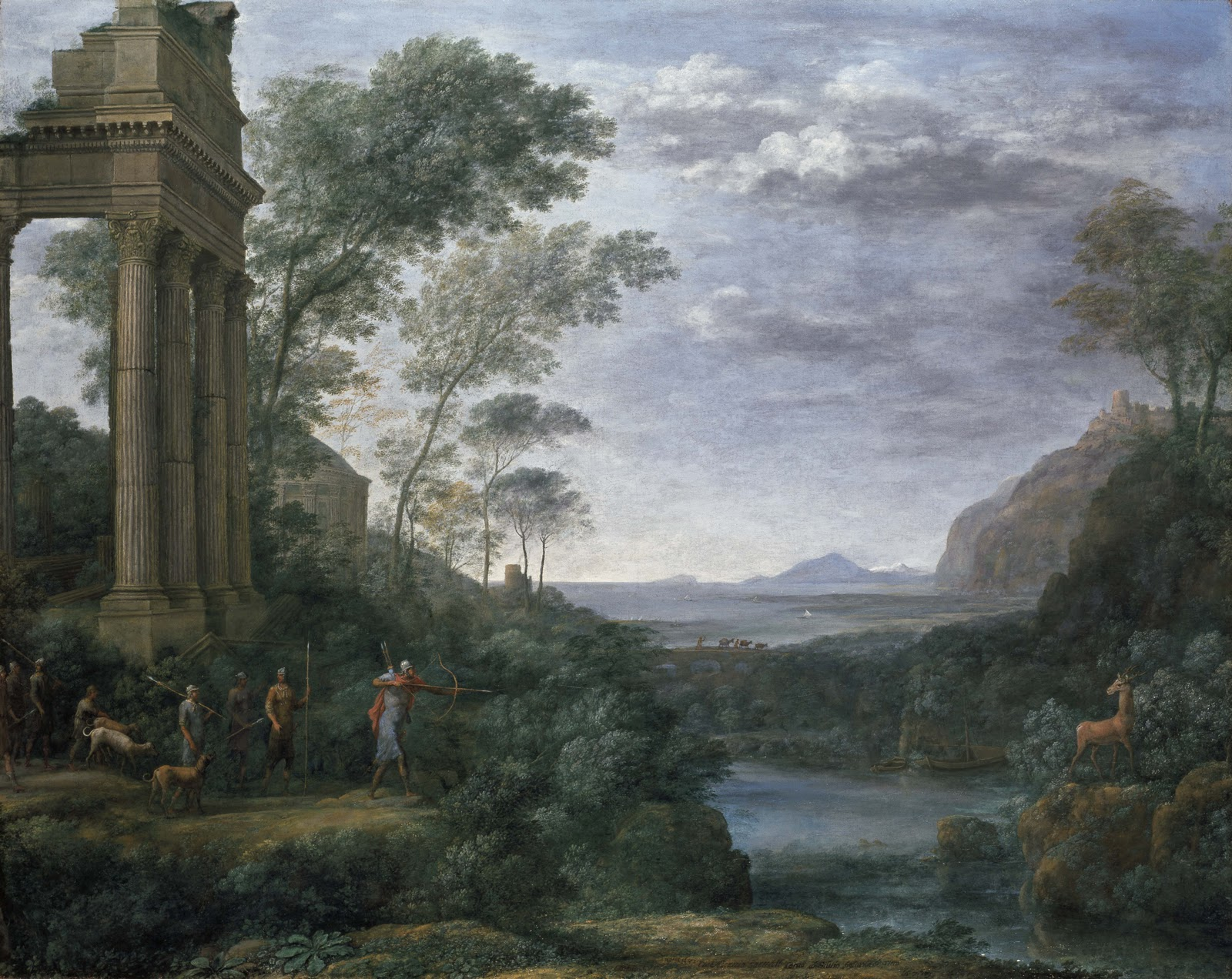 Landscape with Ascanius Shooting the Stag of Sylvia is a painting of 1682 in oil on canvas by Claude Lorrain. It was painted in Rome for Prince Lorenzo Onofrio Colonna (1637–1689), Claude's most important patron in his last years, and is now in the Ashmolean Museum, Oxford. It is signed, dated with the year, and inscribed with the subject (at centre bottom), as Claude sometimes did with his less common subjects. It was Claude's last painting, and is perhaps not quite finished; it therefore does not appear in the Liber Veritatis, where he made drawings to record his finished works.