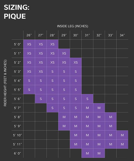 Liv Pique MTB Size Chart