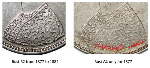 British Indian Half Rupee Bust Variety image10 Bust B2 from 1877 to 1884 Bust A1 only for 1877