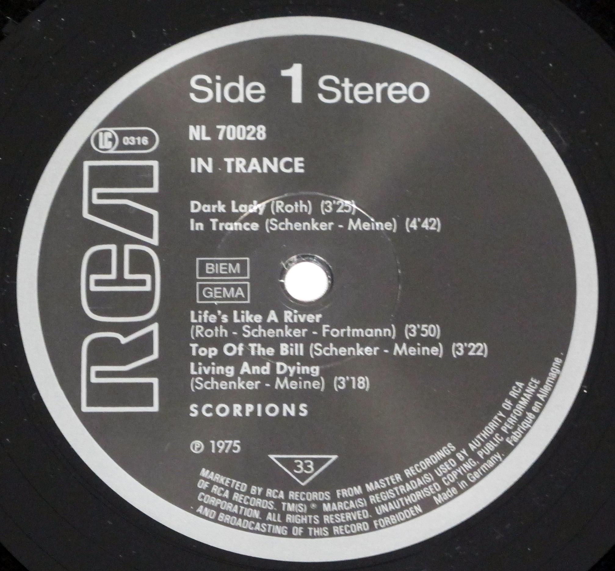 """SCORPIONS In Trance Uncensored Album Cover 12"""" Lp Vinyl"""