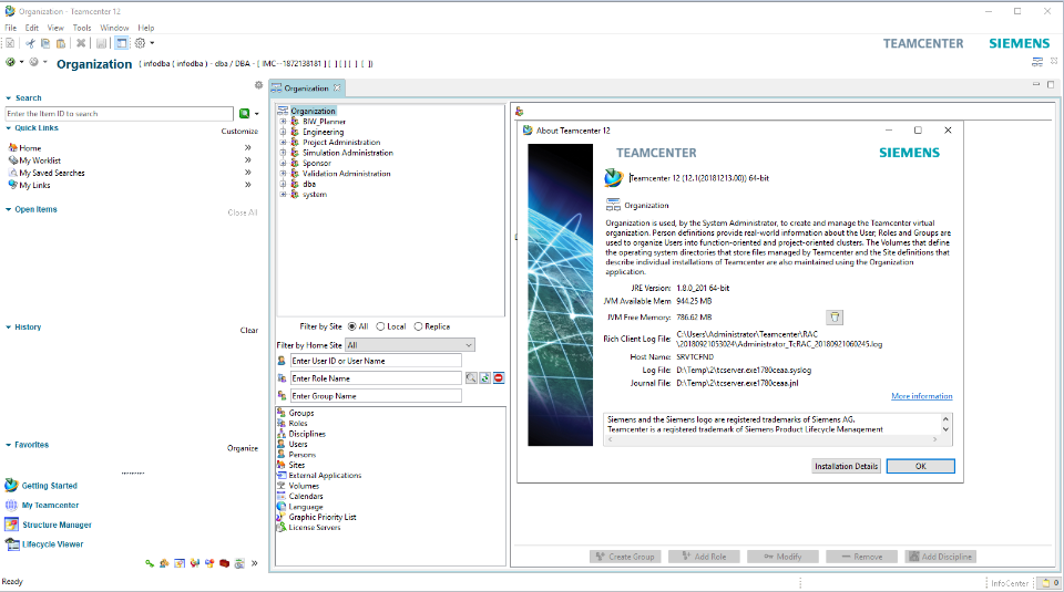 Working with Teamcenter 12.1 full license