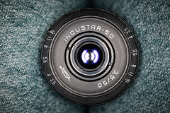 Close-up of an INDUSTAR 50 50mm F3.5 M39 prime lens