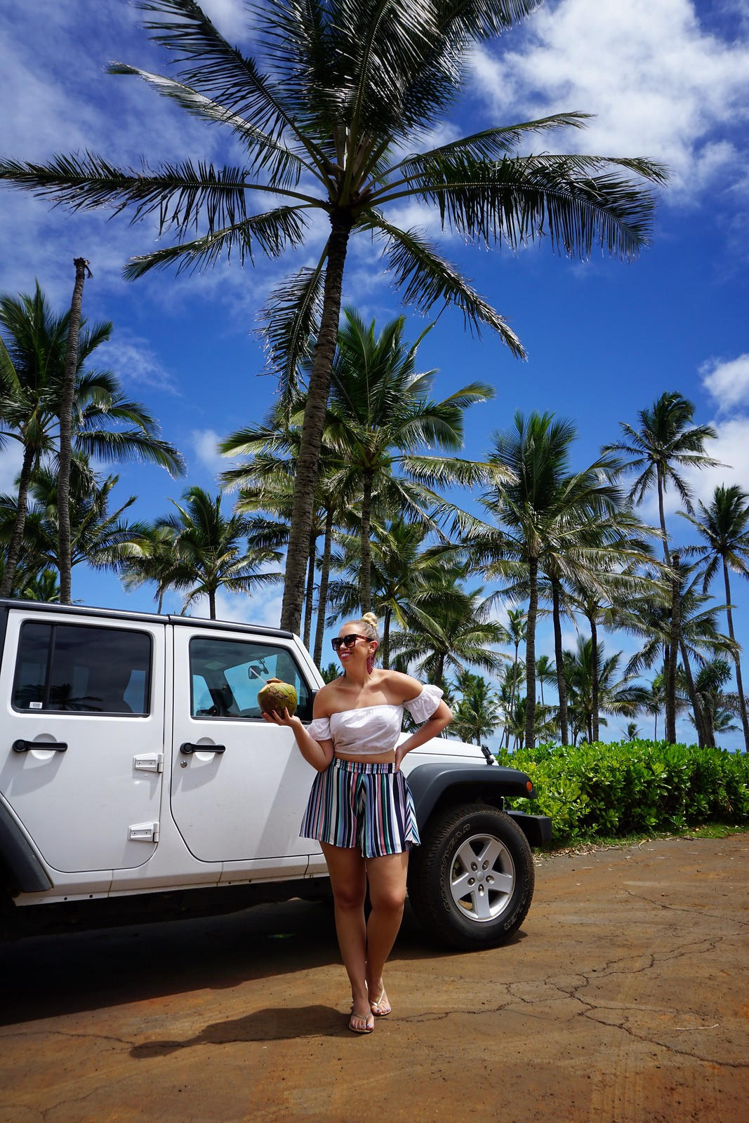 White Off Shoulder Crop Top Blue Striped Shorts White Jeep Hawaii Outfit Hilton Garden Inn Kauai Wailua Bay Best Things to do in Kauai Hawaii