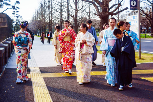 Kimono people at The Outer Garden Of the Imperial Palace : 皇居外苑にて
