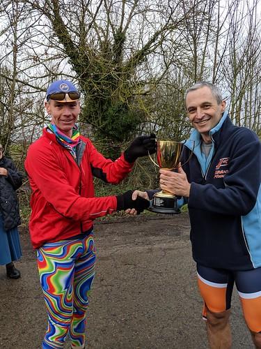 Ron presents the Christmas cup to Simon McGowan