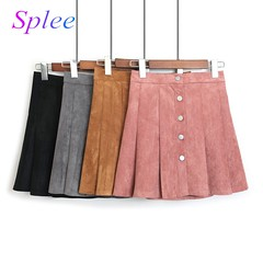 US $33.32 |Deerskin Degree Of Tightness Waist Single Row Buckle Short Skirt Autumn Clothing New 2018 Student A Word Half body Skirt-in Skirts from Women's Clothing on Aliexpress.com | Alibaba Group