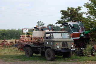 Agriculture machine based on GAZ-66. Photo from Sokolye village, Timsky district, Kursk oblast, Russia.