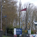 Medieval style flags at Rowley Regis Station - Rowley Regis Station car park