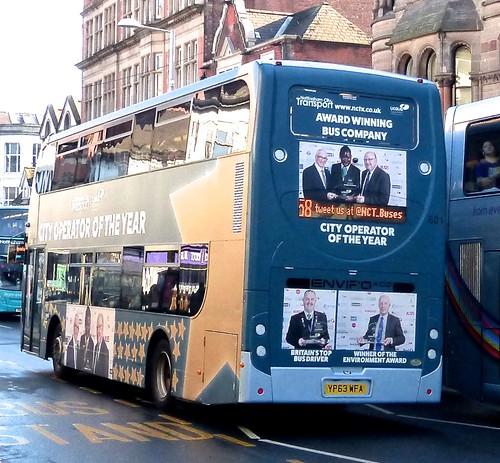 YP63 WFA 'Nottingham City Transport' No. 601 'City Operator of the Year'. Scania N230UD / Alexander Dennis Ltd. Enviro 400 /2 on Dennis Basford's railsroadsrunways.blogspot.co.uk'