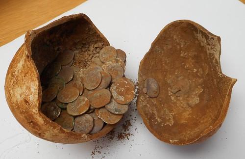Warwickshire silver Roman denarii hoard pot