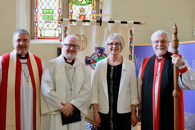 Mrs June Butler with Bishop John McDowell, Archbishop Richard Clarke and Bishop Harold Miller.