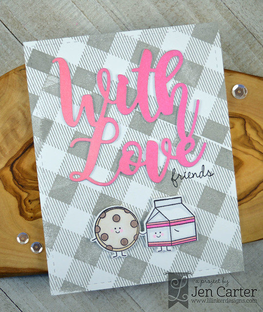 Jen Carter With Love Word die Perfect Pairs 2 stamps Perfect Pair 2 additions Cozy Plaid gray wm