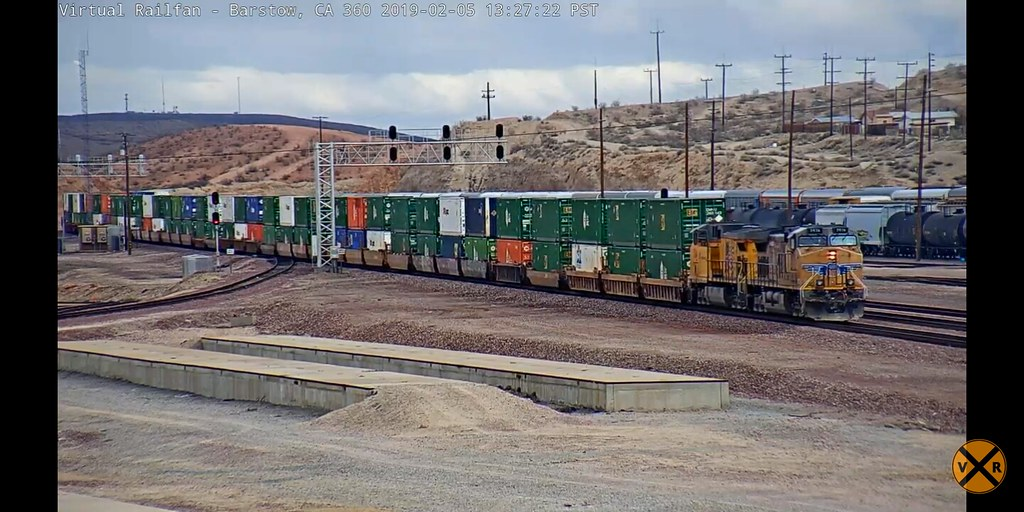 Container rail transport on Barstow Virtual railfan