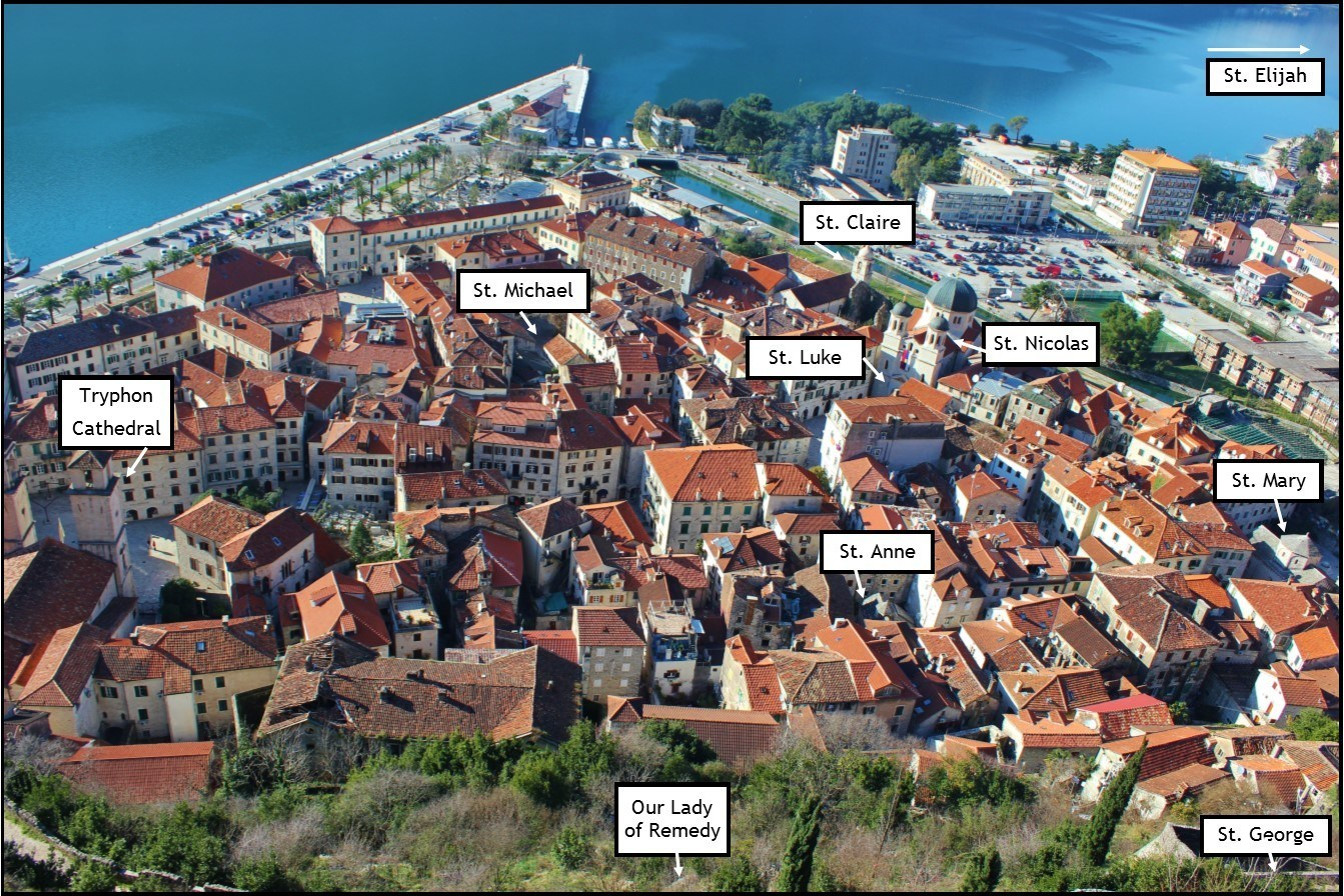 Image of Kotor Old Town with historic churches indicated.