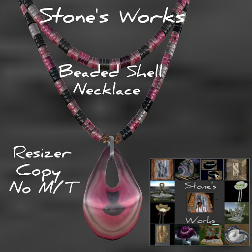 Beaded Necklace Stone's Works Poppy Pink