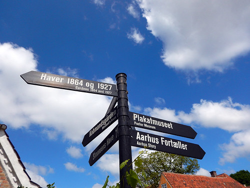 Directional signs leading you to different time periods