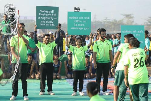 Devotees of Volley Ball Teams seeking blessings