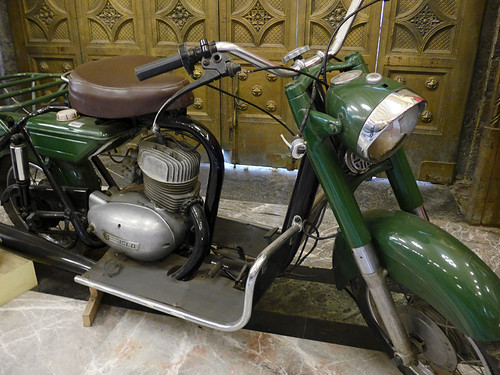 Motorbike used for postal delivery at the Postal Palace, aka Palacio Postal, in Mexico City