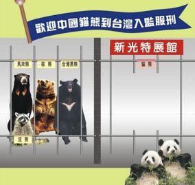 「團團」、「圓圓」抵台前,台灣出現一系列諷刺漫畫。繪圖:阿瑛[17]。
