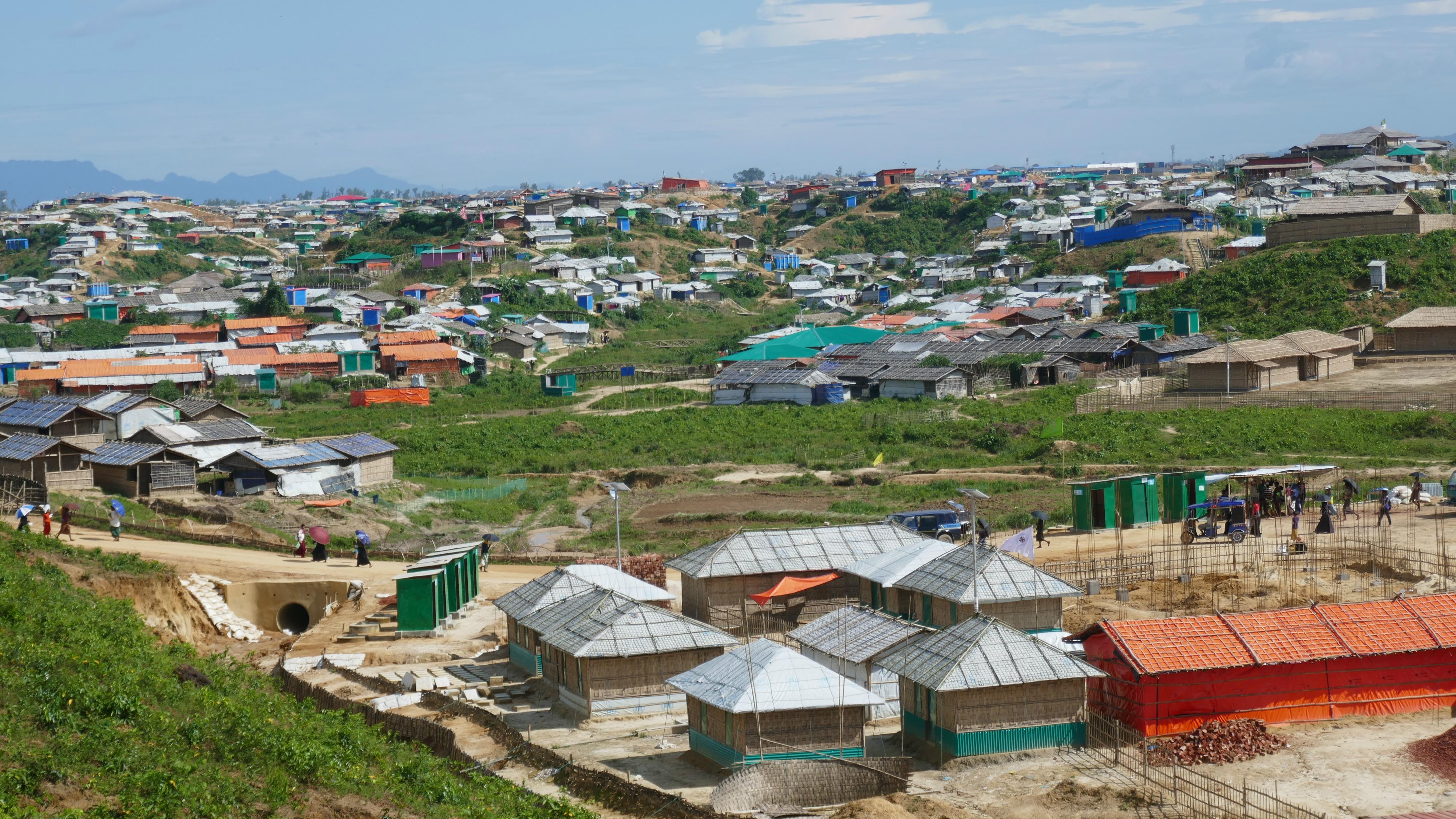 Refugee housing clustered on a hillside