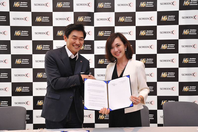 JongRyul Kim, CEO of CJ 4DPLEX with Ms Koh Mei Lee, CEO of Golden Screen Cinemas at the ScreenX Signing Ceremony at CineAsia 2018