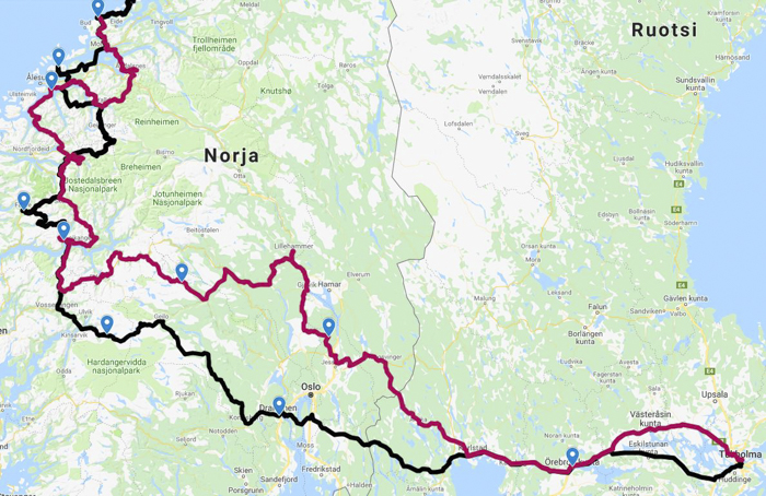 Norja Norge Norway reittisuunnittelu reittiehdotus roadtrip moottoripyörällä