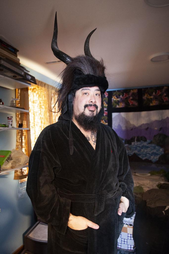 Mark, post-sauna, posing in his bedroom