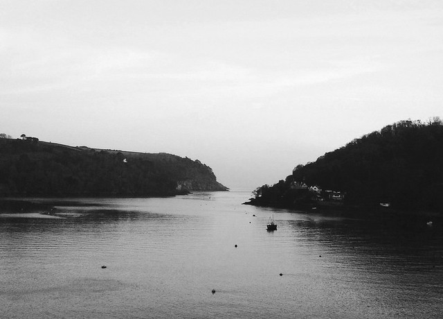 black and white photograph kingswear dartmouth devon river dart mouth