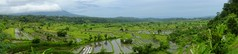 Wide angle panorama of the rice fields of East Bali