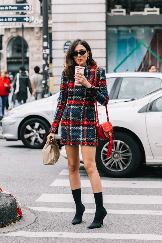 black ankle boots sock boots street style outfit 20192