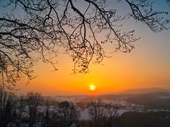Winter sunset in frame