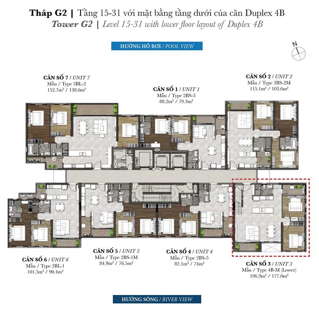 Mặt bằng tầng Palm Garden tháp G2 tầng 15-31