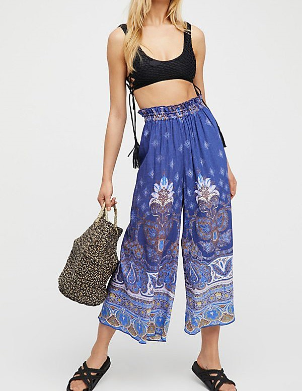Free People Womens gold Dust OB727395 Pants Wide Leg Navy Combo bluee Size XS