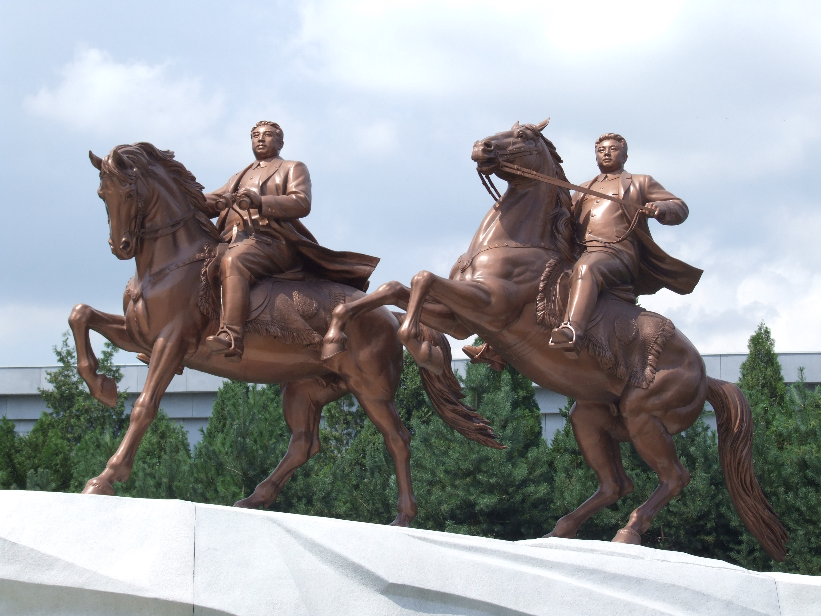Statue of Kim Il-sung and Kim Jong-il riding horses at Mansudae Art Studio in Pyongyang and officially revealed on the Day of the Shining Star in 2012.