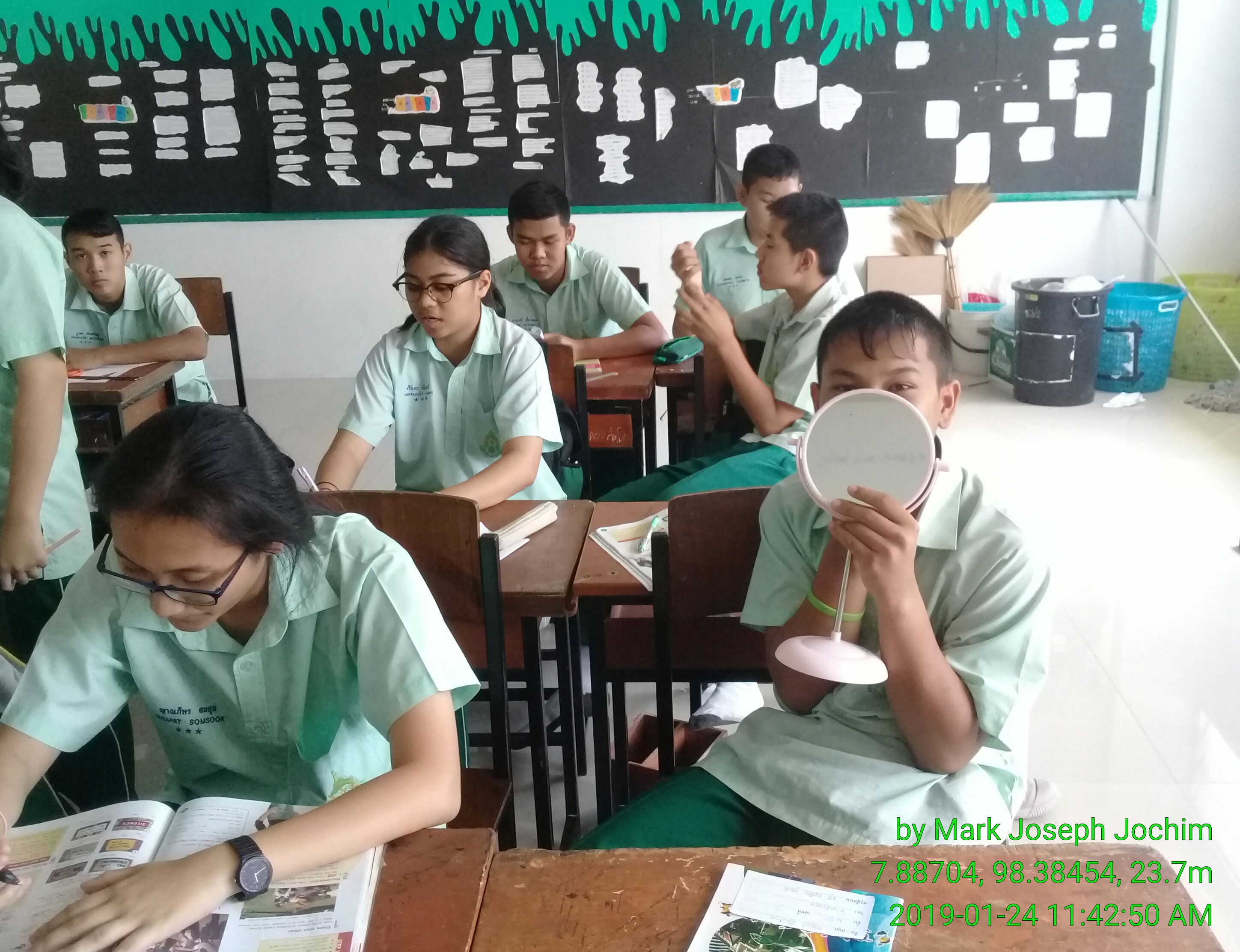 Students in Class M3/2 at Plukpanya Municipal School in Phuket, Thailand. Photo taken on January 24, 2019.